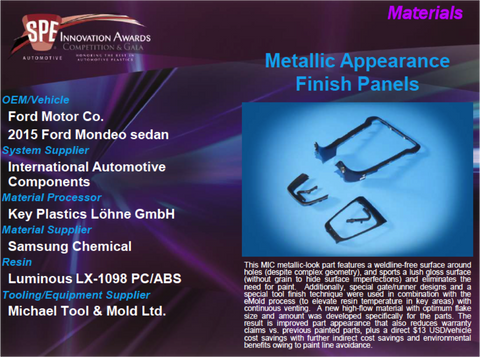 MA Metallic Appearance Finish Panels 9 x 12 Display Plaque