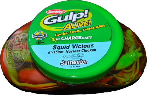 "Gulp Soft Bait Tub 6"" Squid Vicious"