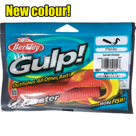 "Gulp Soft Bait -  6"" Grub Curried Chicken"
