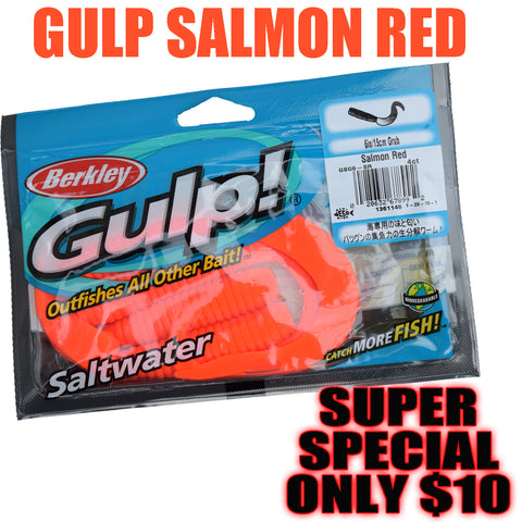 "1 WEEK SPECIAL DEAL Gulp Soft Bait -  6"" Grub Salmon"