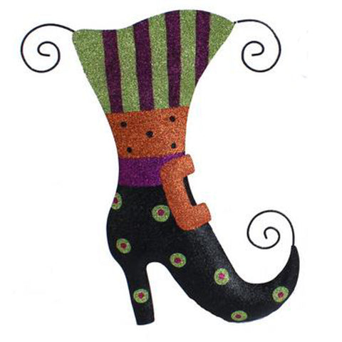 "18.5"" Tin Glitter Hallowen Boot - Black w/Green Polka Dots - (HH7212)"