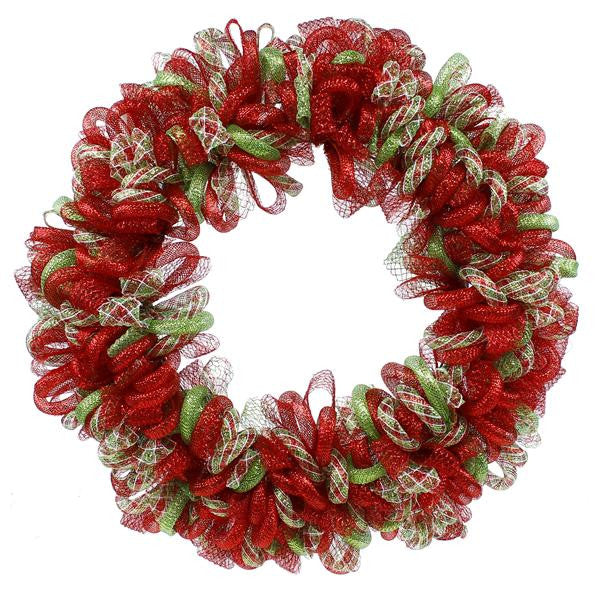 "Wreaths and Door Decor-Red/White/Lime Green 24""Dia Flex Ribbon/Tubing Wreath-Sassy Chic Boutique"