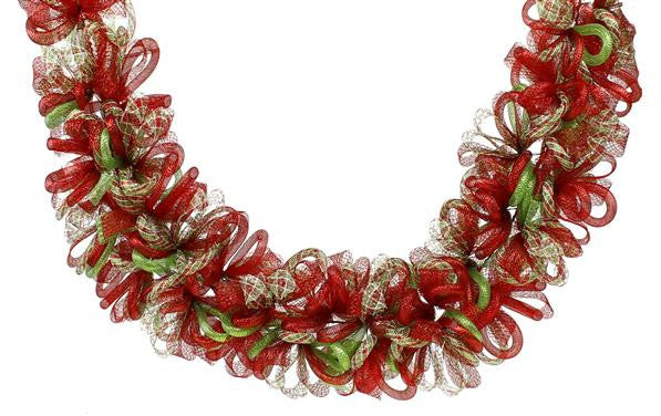 Wreaths and Door Decor-Red/White/Lime Green 5L Flex Tubing/Flex Ribbon Garland-Sassy Chic Boutique