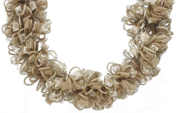 Wreaths and Door Decor-Natural/Cream 5L Faux Jute Ribbon/Tubing Garland-Sassy Chic Boutique
