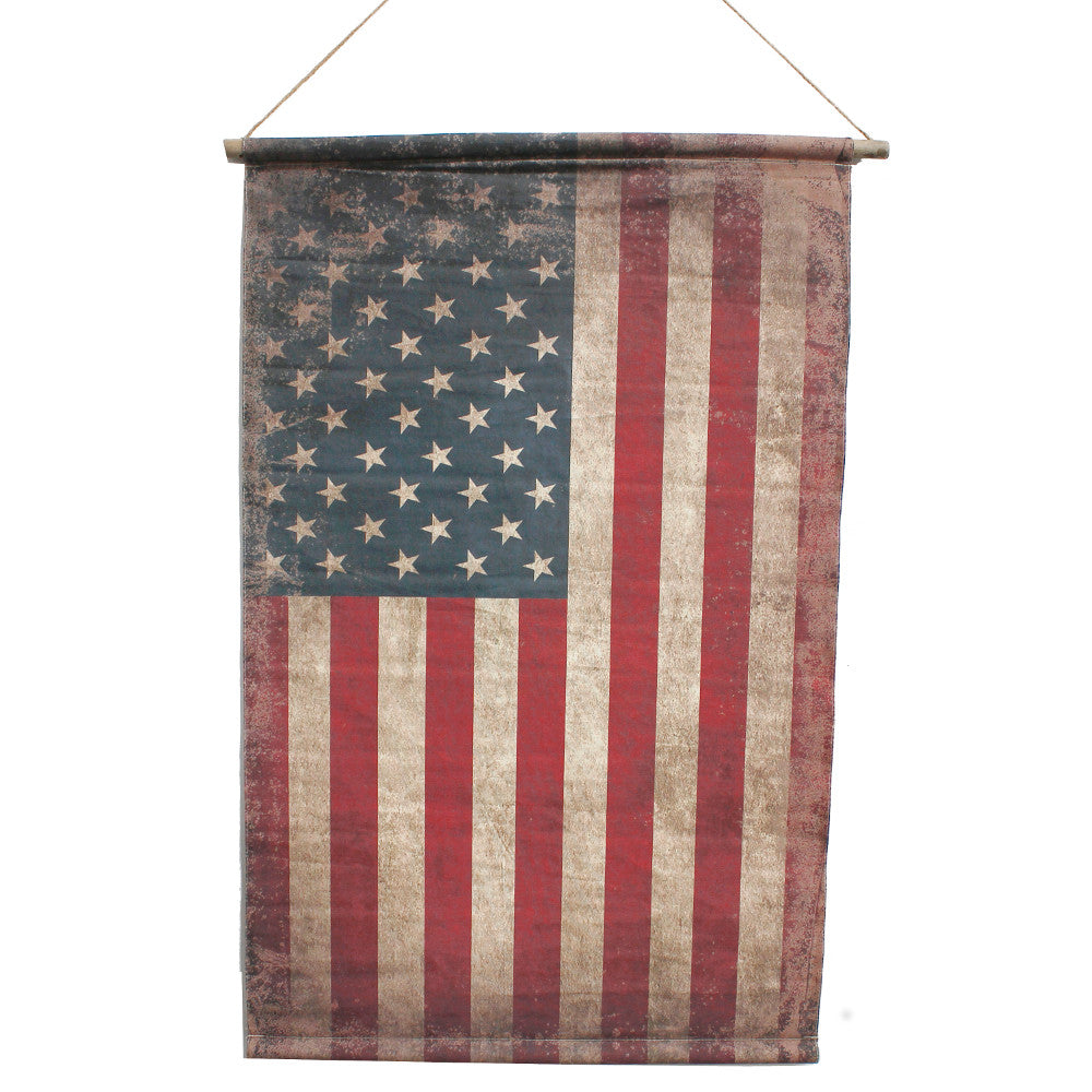 "Home Decor-Vintage USA Flag Banner with Rope Hanger - 49"" x 31""-Sassy Chic Boutique"