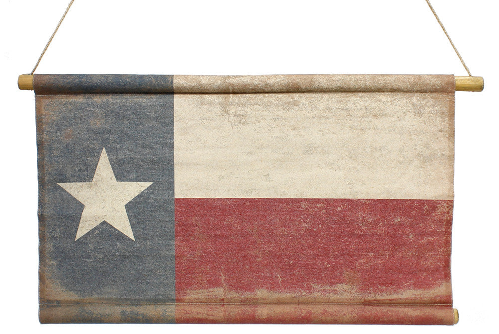 "Home Decor-Red White and Blue Vintage Texas Flag Banner with Rope Hanger - 27"" x 16""-Sassy Chic Boutique"