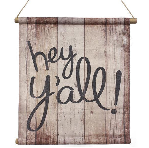 "Wreaths and Door Decor-Natural/Black 22""L Hey YAll/Barnwood Banner-Sassy Chic Boutique"