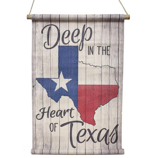 "Wreaths and Door Decor-Natural/Red/Blue/Black 29.5""L Deep In The Heart Of Texas Banner-Sassy Chic Boutique"
