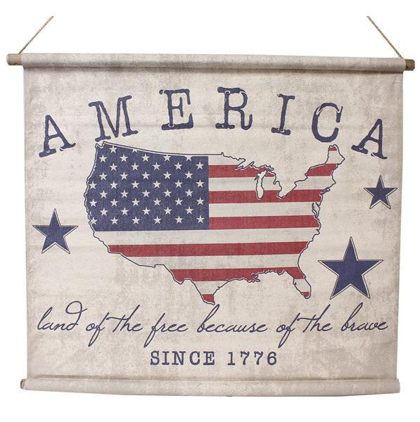 "Home Decor-Red/Natural/Blue 34.5""W America Since 1776 Banner-Sassy Chic Boutique"