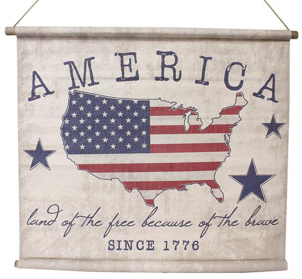 "Home Decor-America 1776 Flag Banner, ""Land of the Free Because of the Brave"" - 35""-Sassy Chic Boutique"