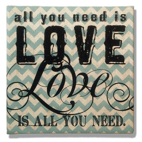 All You Need Is Love Blue and White Chevron Burlap Plaque