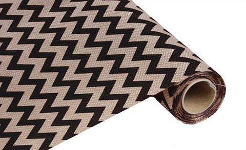 "19"" Black and Beige Wide Chevron Fabric Roll - 19"" x 5 yds - (RG702502)"