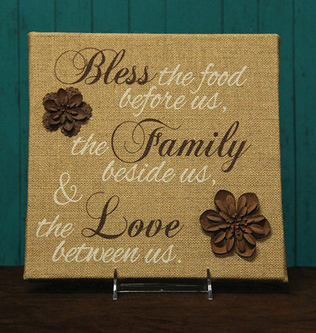 Bless The Food, The Family, And The Love Between Us Burlap Plaque