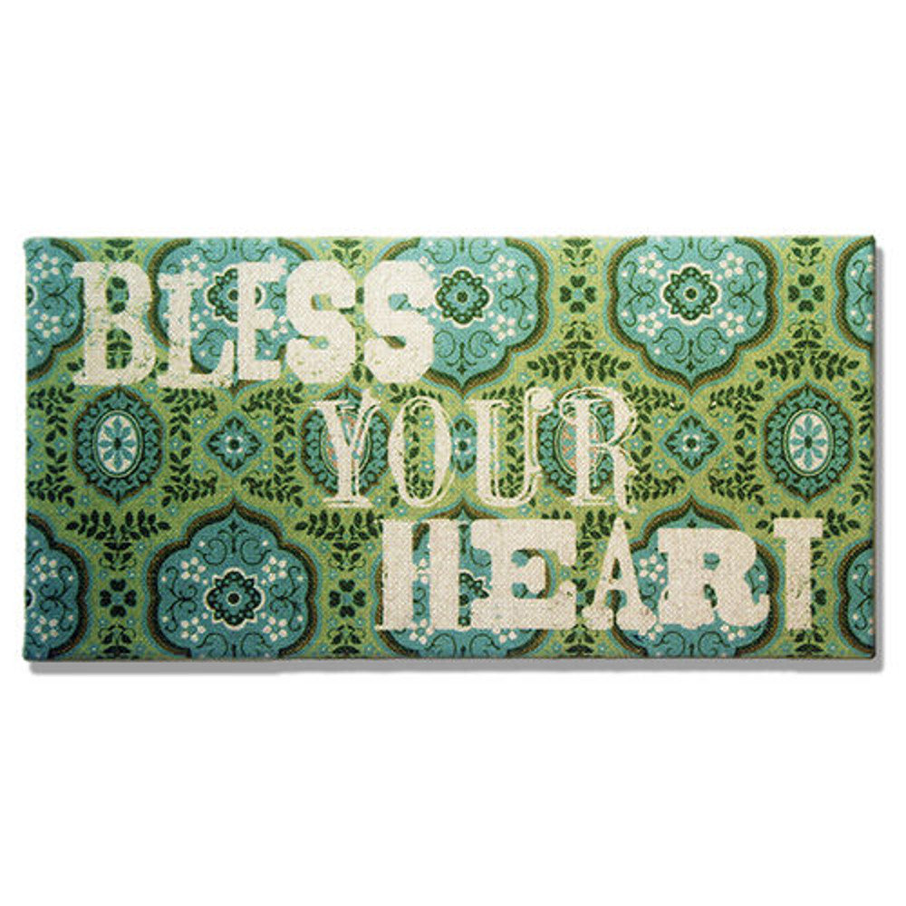 Home Decor-Bless Your Heart Green and Turquoise Burlap-Sassy Chic Boutique