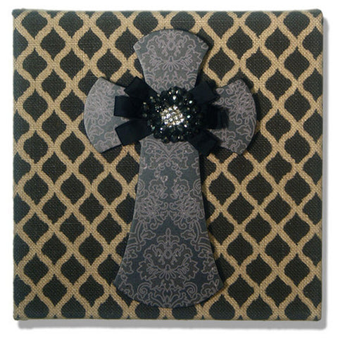 "Burlap Black Lattice with Black Damask Cross and Jeweled Ribbon - 10"" x 10"""