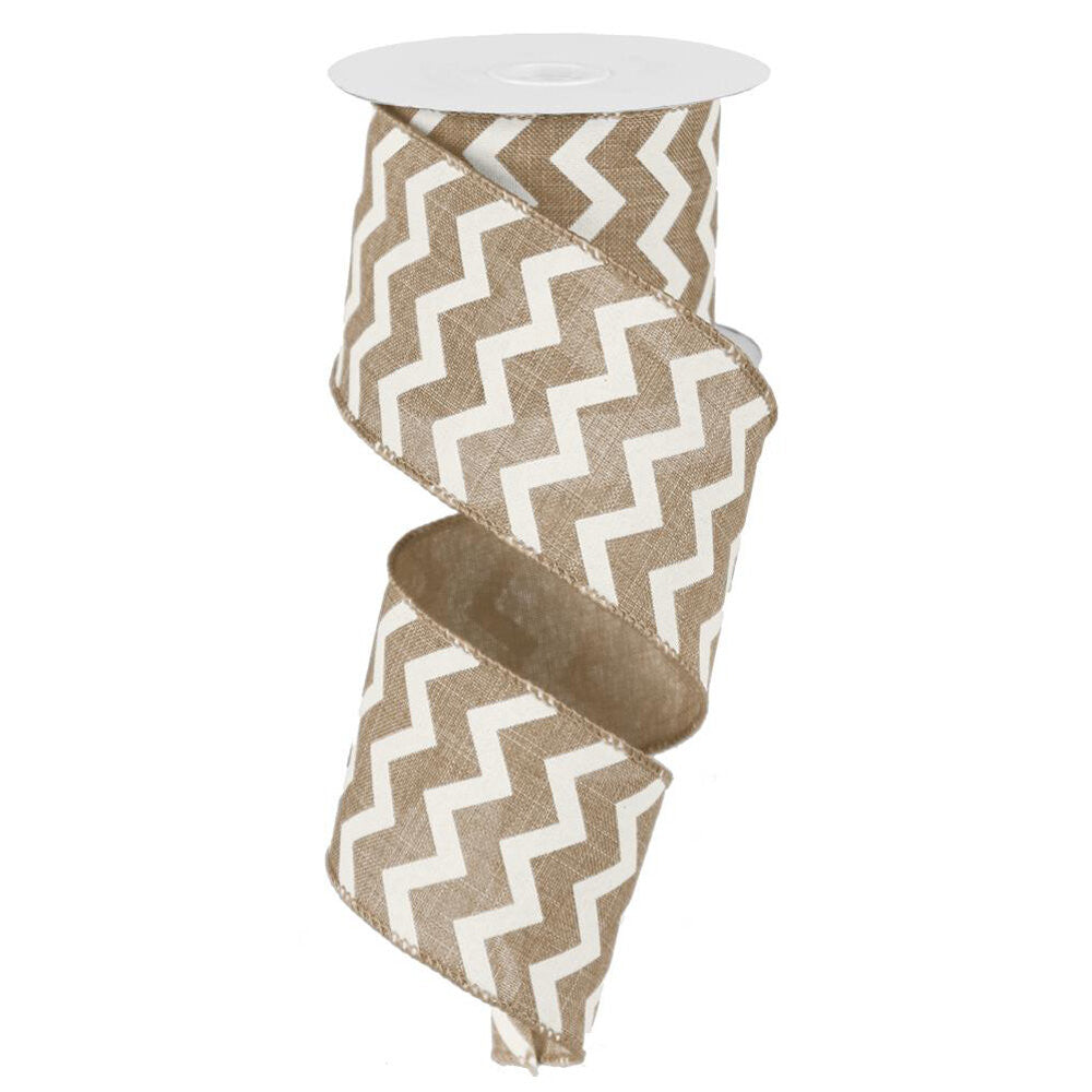 "Wreath Supplies-Chevron Ribbon - Beige/Ivory (RG101901) - 2.5"" x 10 yds-Sassy Chic Boutique"