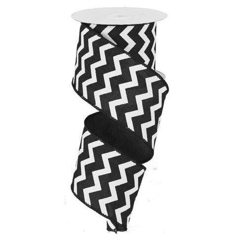 "Chevron Ribbon - Black/White (RG101902) - 2.5"" x 10 yds"