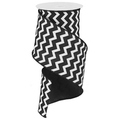 "Chevron Ribbon - Black/White (RG102002) - 4"" x 10 yds"