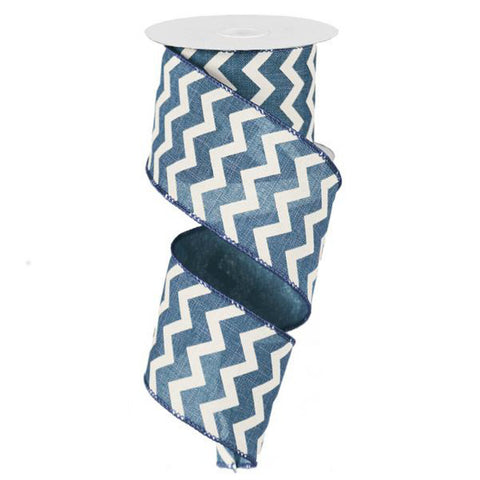 "Chevron Ribbon - Blue Denim/Ivory (RG10198K) - 2.5"" x 10 yds"