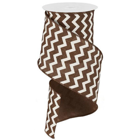 "Chevron Ribbon - Brown/Ivory (RG102004) - 4"" x 10 yds"