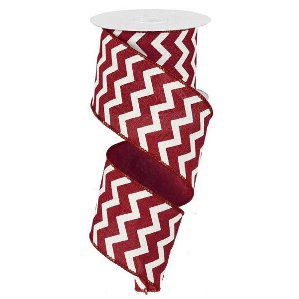 "Wreath Supplies-Chevron Ribbon - Cranberry/Ivory (RG1019KT) - 2.5"" x 10 yds-Sassy Chic Boutique"