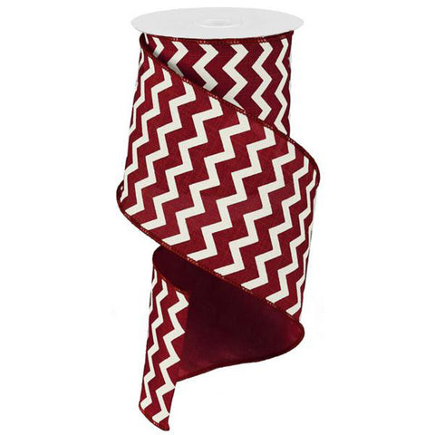 "Chevron Ribbon - Cranberry/Ivory (RG1020KT) - 4"" x 10 yds"