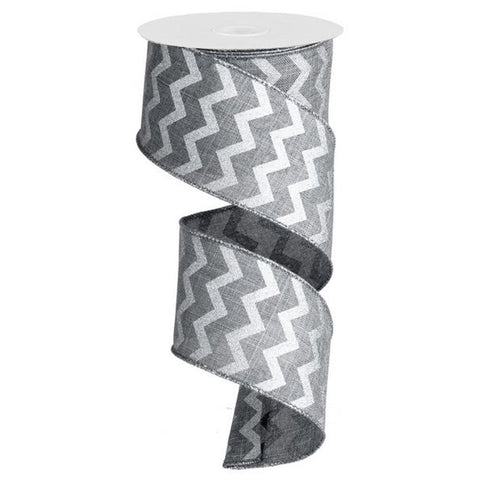 "Chevron Ribbon - Grey/Silver (RG10228N) - 2.5"" x 10 yds"