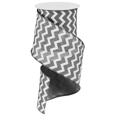 "Chevron Ribbon - Grey/White (RG102010) - 4"" x 10 yds"