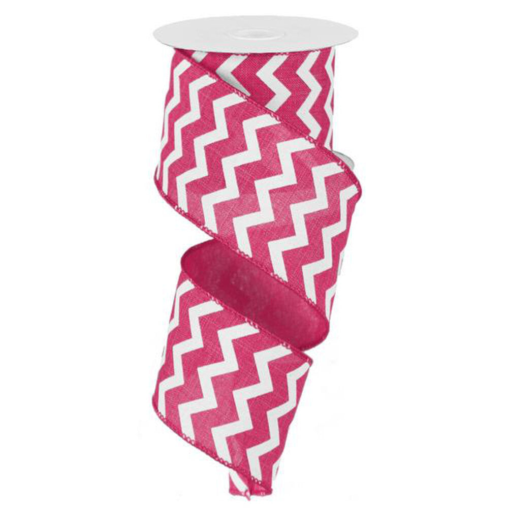 "Wreath Supplies-Chevron Ribbon - Hot Pink/White (RG101911) - 2.5"" x 10 yds-Sassy Chic Boutique"
