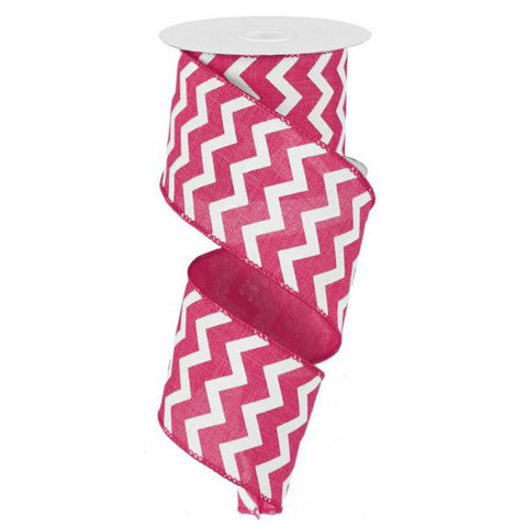"Chevron Ribbon - Hot Pink/White (RG101911) - 2.5"" x 10 yds"