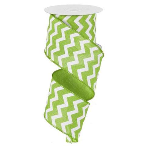 "Chevron Ribbon - Lime Green/White (RG1019E9) - 2.5"" x 10 yds"