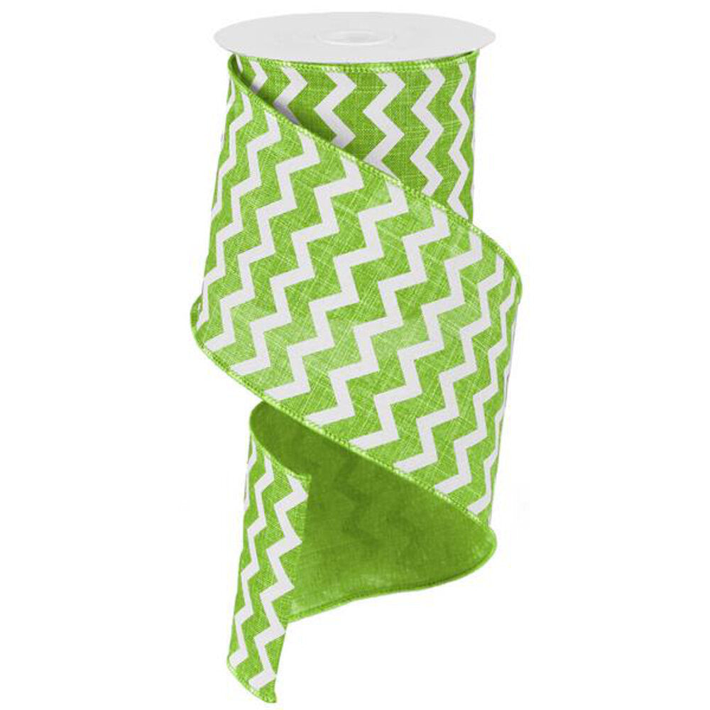 "Wreath Supplies-Chevron Ribbon - Lime Green/White (RG1020E9) - 4"" x 10 yds-Sassy Chic Boutique"