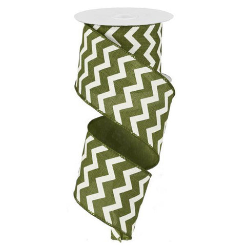 "Chevron Ribbon - Moss Green/Ivory (RG101936) - 2.5"" x 10 yds"
