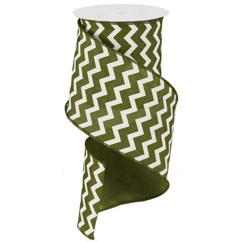 "Chevron Ribbon - Moss Green/Ivory (RG102036) - 4"" x 10 yds"