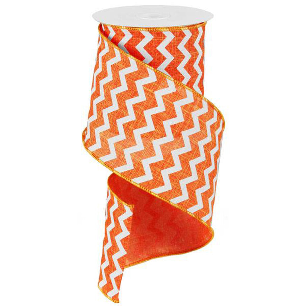 "Wreath Supplies-Chevron Ribbon - Orange/White (RG102020) - 4"" x 10 yds-Sassy Chic Boutique"