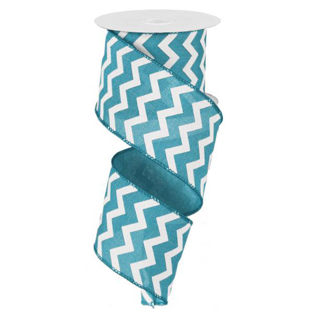 "Wreath Supplies-Chevron Ribbon - Turquoise/White (RG1019JH) - 2.5"" x 10 yds-Sassy Chic Boutique"