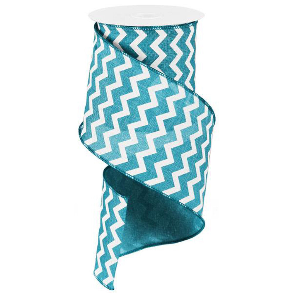 "Wreath Supplies-Chevron Ribbon - Turquoise/White (RG1020JH) - 4"" x 10 yds-Sassy Chic Boutique"