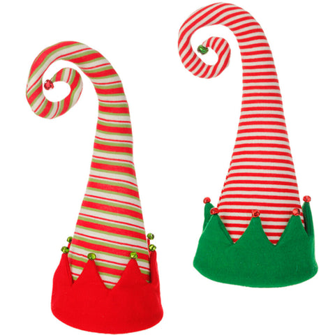 "18"" Christmas Elf Hat Tree Topper - Choice of Red/White Striped or Red/Green/White Striped (3516122) - 18"" x 9"""