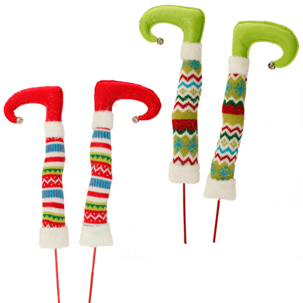 "Wreath Supplies-17"" Christmas Elf Legs - Choice of Red or Green (3516502) - 17"" with 8"" Stake-Sassy Chic Boutique"