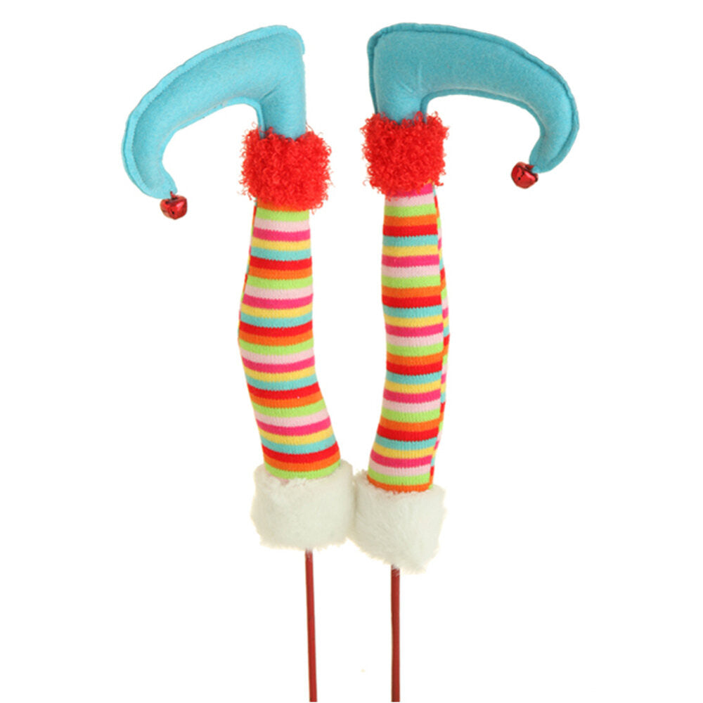 "Wreath Supplies-12"" Christmas Elf Legs - Multi-Colored (3416368 ) - 12"" with 8"" Stake-Sassy Chic Boutique"