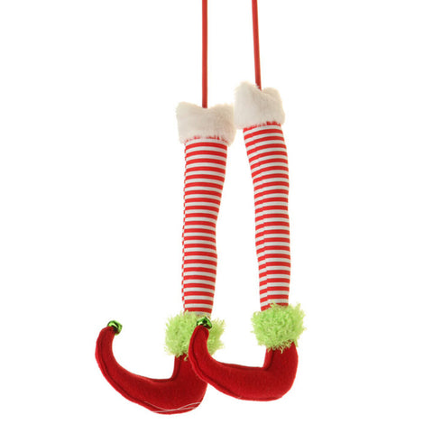 "12.5"" Christmas Elf Legs - Red/White Stripe (3316410) - 12.5"" with 8.5"" Stake"