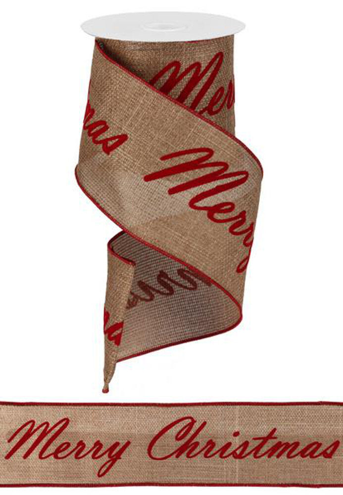 "Wreath Supplies-Christmas Print Ribbon on Burlap - Red (RG1371) - 4"" x 22 Repeats-Sassy Chic Boutique"
