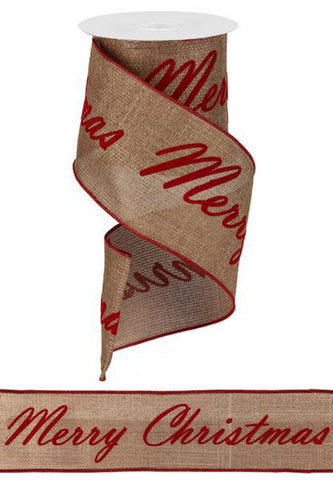 "Christmas Print Ribbon on Burlap - Red (RG1371) - 4"" x 22 Repeats"