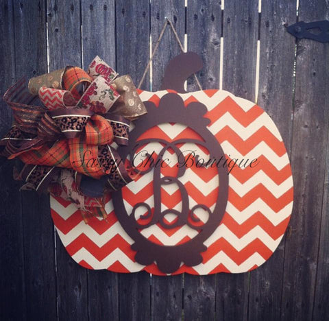 "Custom Chevron Fall/Halloween Pumpkin Door Hanger w/Over the Top Bow and Framed Monogram Letter of Your Choice - 24"" x 22""(Bow May Differ From Picture)"