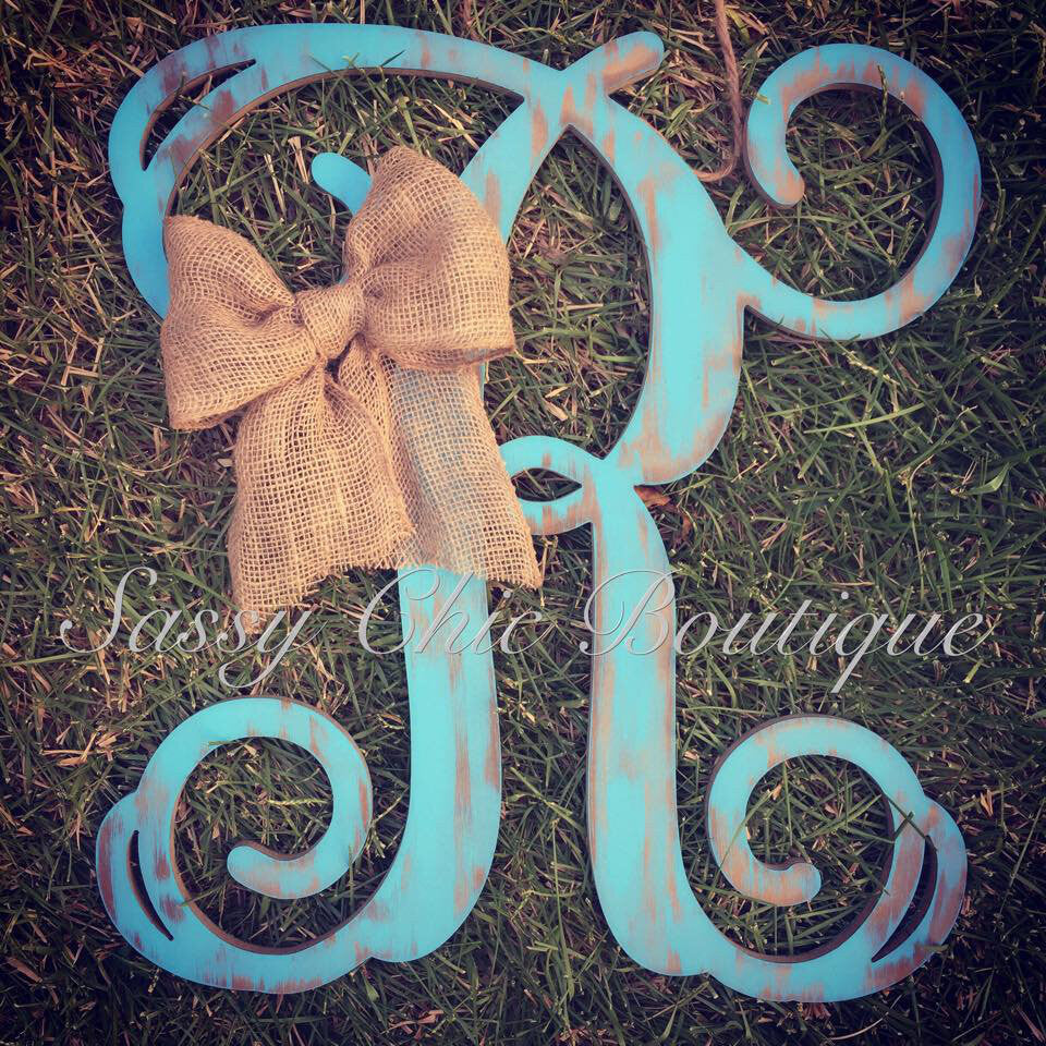 Wooden Monograms-Custom Distressed Single Wooden Monograms - Vine Font-Sassy Chic Boutique