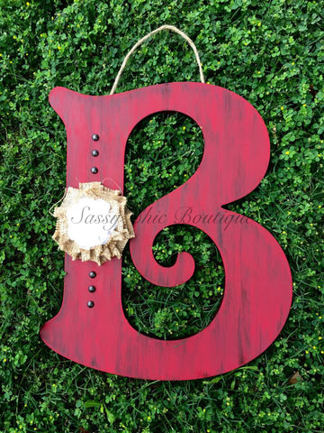 Custom Distressed Initial Wooden Door Hanger w/Burlap Flower and Nail Head Trim - Font of Your Choice