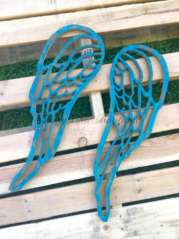 Custom Distressed Wooden Angel Wings - Choice of 30 Colors