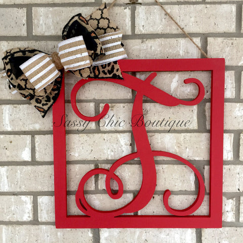 Wooden Monograms-Custom Distressed Single Framed Wooden Monograms with Optional Bow - Vine Font-Sassy Chic Boutique - 2