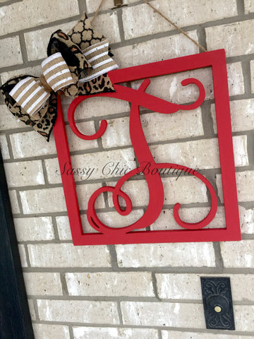 Wooden Monograms-Custom Distressed Single Framed Wooden Monograms with Optional Bow - Vine Font-Sassy Chic Boutique - 3