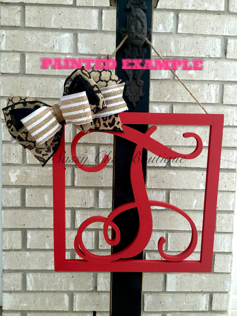 Wooden Monograms-Custom Distressed Single Framed Wooden Monograms with Optional Bow - Vine Font-Sassy Chic Boutique - 1